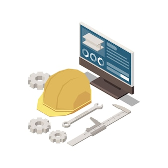Stem education isometric concept s composition with images of engineers hat and computer with gears  illustration