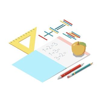 Изометрическая концепция образования ствола с элементами канцелярских принадлежностей и тетрадью математической иллюстрации