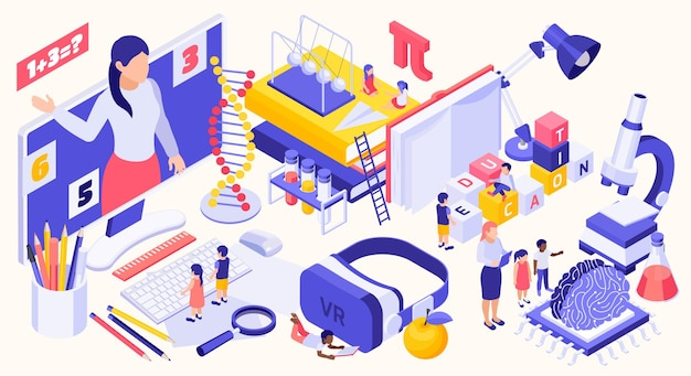 Stem education isometric  with science icons and different modern devices