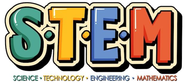 Banner con logo educativo stem su sfondo bianco