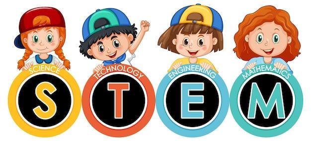 Stem образование логотип баннер с детским мультипликационным персонажем