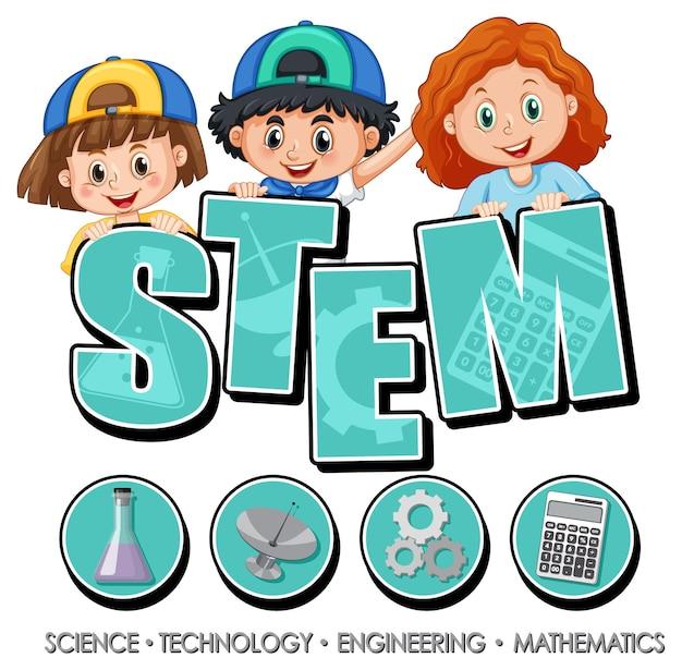 아이 만화 캐릭터와 함께 stem 교육 로고 배너