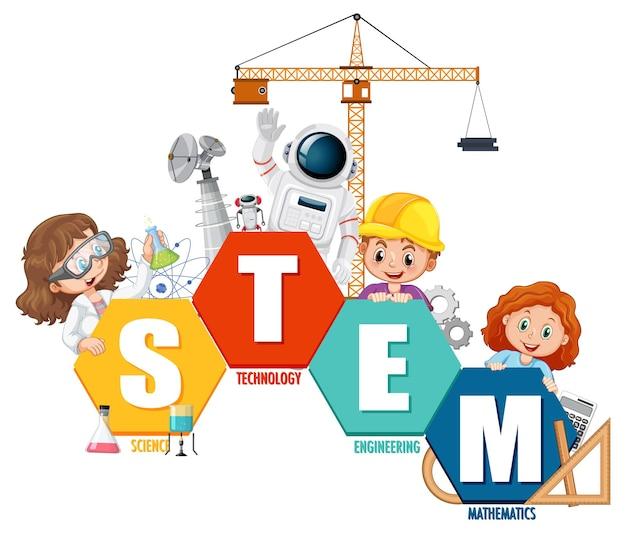 Banner con logo educativo stem con personaggio dei cartoni animati per bambini