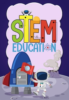 Stem education logo with astronaut and space objects
