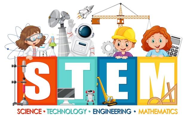 Логотип образования stem с детским мультипликационным персонажем