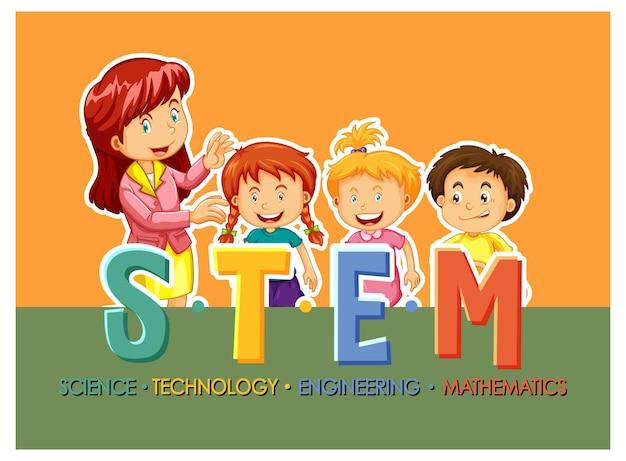 어린이 만화 캐릭터가 있는 stem 교육 로고