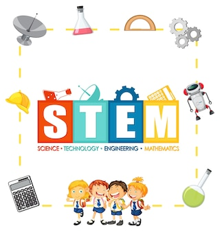 Stem education logo with children and education icon elements