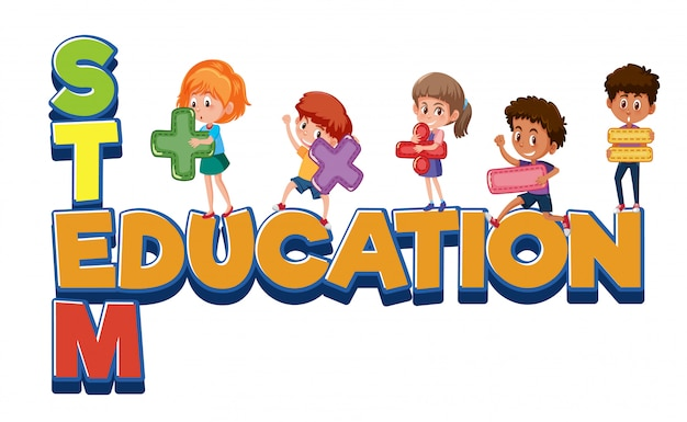 Stem education logo with four kids isolated
