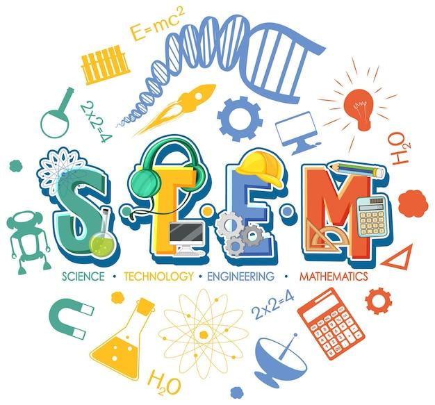 아이콘 장식 요소가 있는 stem 교육 로고