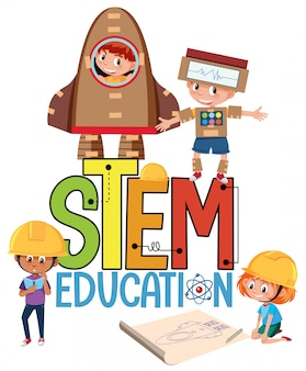 Stem education logo with kids wearing engineer costume isolated