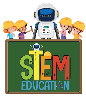 Stem education logo with kids wearing engineer and robot