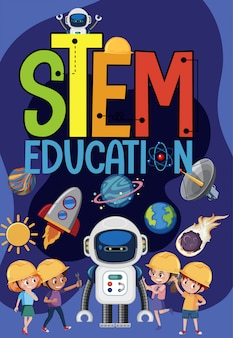 Stem education logo with kids wearing engineer in space theme