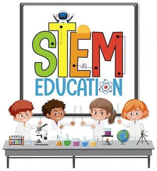 Stem education logo with kids wearing scientist costume isolated
