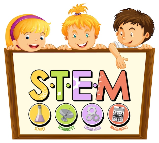 Stem education logo with little kids cartoon character