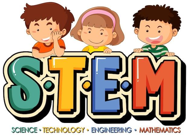 Логотип образования stem с персонажем мультфильма маленьких детей