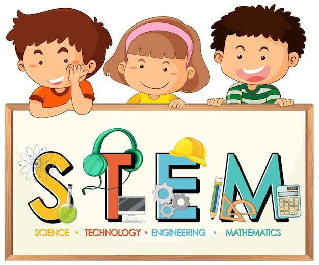 小さな子供たちの漫画のキャラクターとstem教育のロゴ