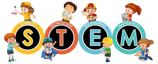 Логотип образования stem с многодетным мультипликационным персонажем