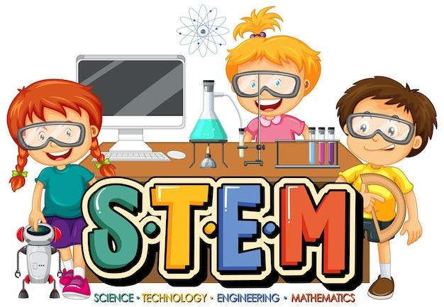 Логотип stem с мультипликационным персонажем многих детей