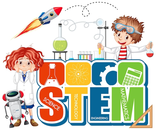 Stem education logo with scientist cartoon character
