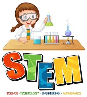 科学者の女の子の漫画のキャラクターとstem教育のロゴ