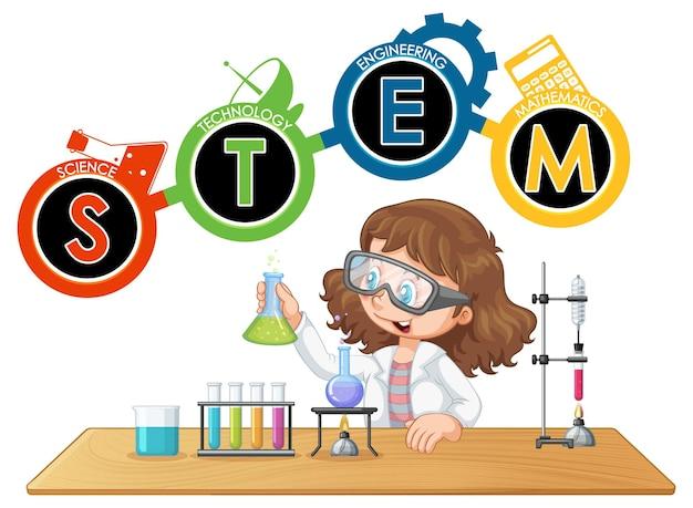 과학자 아이 만화 캐릭터와 stem 교육 로고