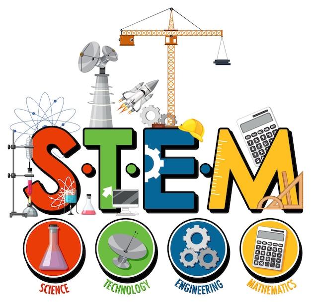 Логотип образования stem с персонажем мультфильма ученого ребенка