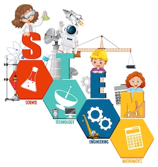 Stem education logo with scientist kid cartoon character