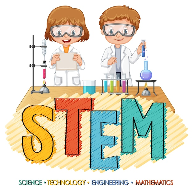 Stem education logo with scientist kids cartoon character