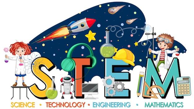 Logo educativo stem con bambini scienziati in tema galassia