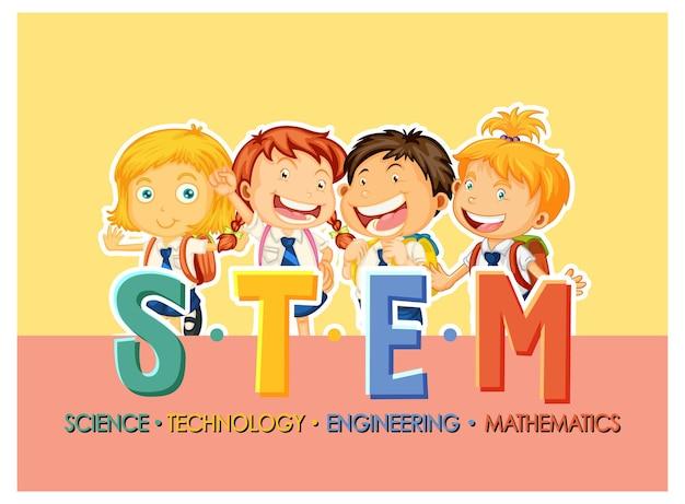 학생 아이 만화 캐릭터와 stem 교육 로고