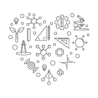 Stem heart concept outline illustration
