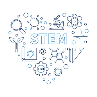 Stem heart   illustration in thin line style