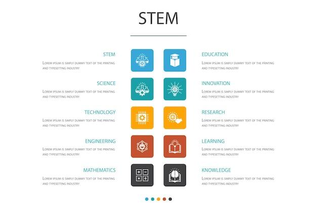 Stem инфографики 10 вариант концепции. наука, технология, инженерия, математика простые значки
