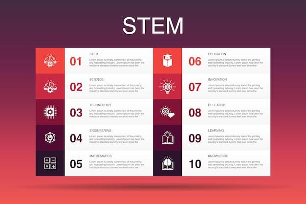Stem инфографики 10 вариант шаблона. наука, технология, инженерия, математика простые значки