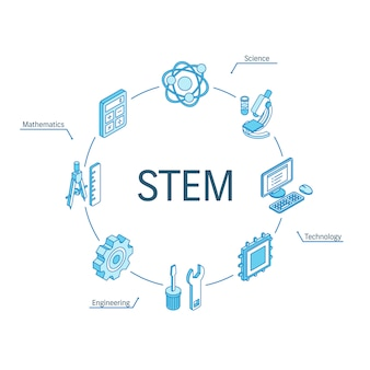 Stem isometric concept. connected line 3d icons. integrated circle infographic design system. science, technology, engineering, mathematics symbols