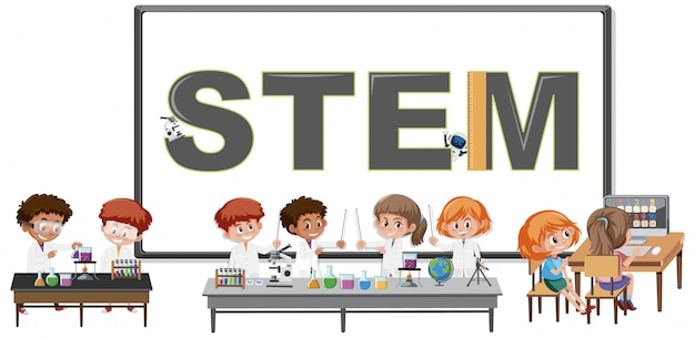 Stem logo and kids wearing scientist costume isolated