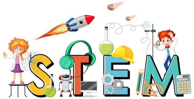 Logo stem con personaggi dei cartoni animati per bambini ed elementi dell'icona dell'istruzione