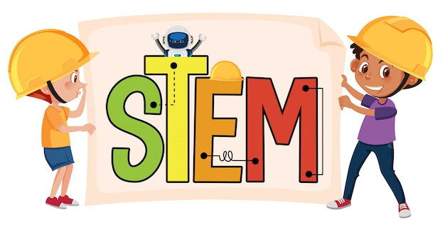 Stem logo with kids wearing engineer costume