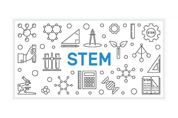 Stem outline banner. vector education illustration