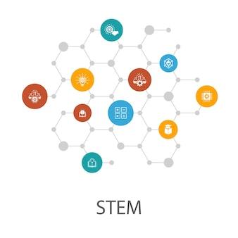 Шаблон презентации stem, макет обложки и инфографика. наука, технологии, инженерия, математика иконки