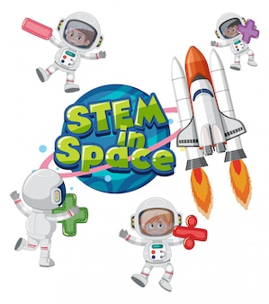 Stem in space logo with kids wearing astronaut costume and spaceship