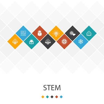 Stem модный ui шаблон инфографика концепция. наука, технологии, инженерия, математика иконки