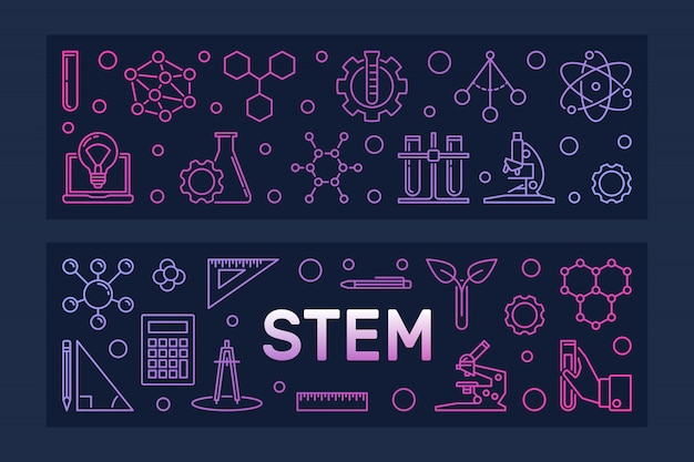 Stem   two colorful line banners