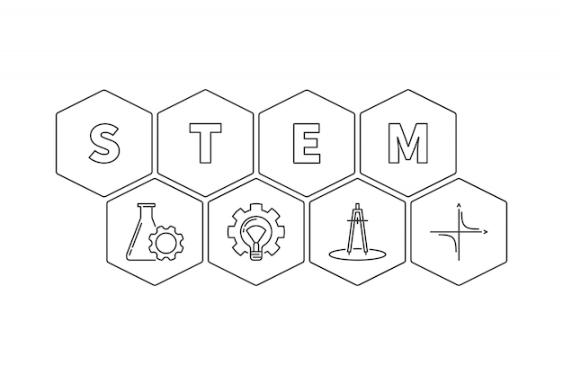 Stem word with icons hexagonal outline illustration