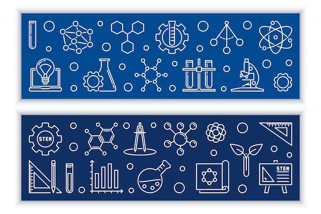 Образование и stem вектор концепции наброски баннеры