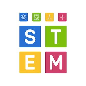 Stem - наука и математика векторные иллюстрации