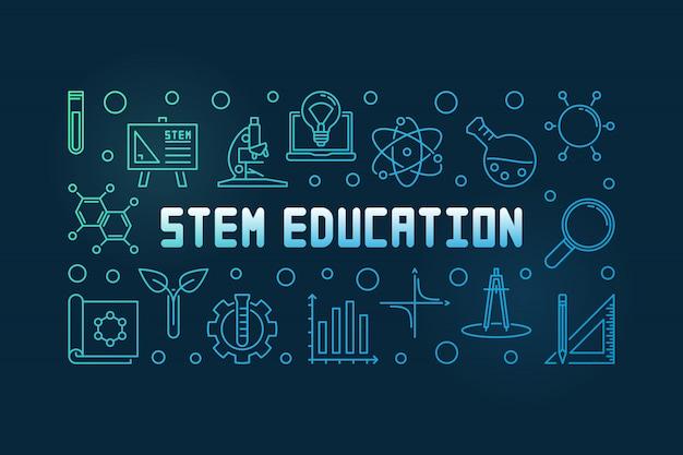 Stem образование красочная концепция линейный баннер