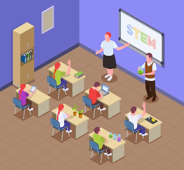 教室の屋内風景と教師のキャラクターと机に座って子供たちとstem教育等尺性組成物