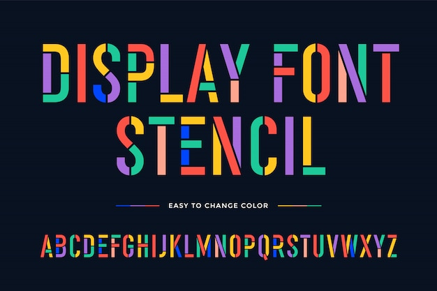 Stencil font. colorful condensed alphabet and font