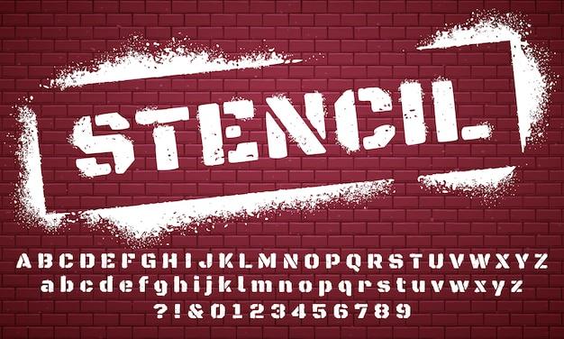 ステンシルフォント。落書きスプレー塗装アルファベット、汚れた質感のレタリング、グランジ文字セット